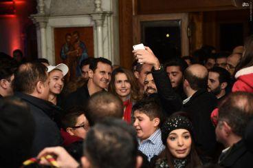 سلفی دیدنی با بشار اسد و همسرش + عکس
