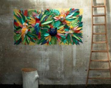 ساخت تابلوی دیواری منظرهی جنگل استوایی با هزاران تکه کاغذ